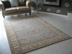 BRAND NEW AFGHAN ZIEGLER STYLE DUCK EGG BLUE BEIGE WOOL RUG 18 X 12m