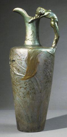 CLÉMENT MASSIER ewer vase with figural mermaid handle, metallic glaze, 1893-1894, 0.85m high.