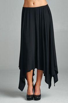 Handkerchief Hem Black Skirt | Cherish | Sizes: S, M, L $35 — Will order Monday, 6/1 Material: 95% Modal, 5% Spandex Made in USA