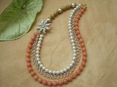 Peach agate necklace by DreamsJewels on Etsy