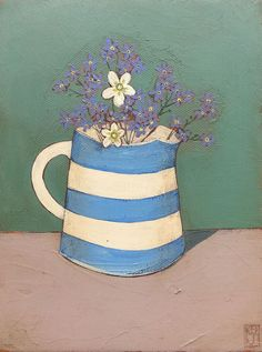 Original art and paintings by Jo Oakley, London and Whitstable artist Mini Canvas Art, Diy Canvas, Painting Still Life, Still Life Art, January Art, Cup Art, Mixed Media Canvas, Whimsical Art, Pictures To Paint