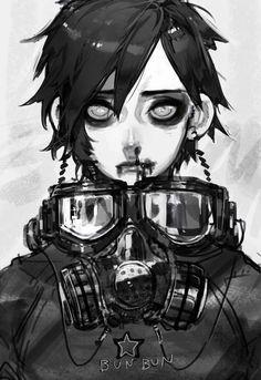 gas mask digital art anime - Google Search