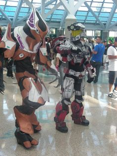 That is one awesome costume. I think ones an elite...? I have no idea. Feel free to fill me in on what exactly they are. On the right: ___________________________ If you are the Cosplayers, please ...