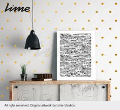 Gold Polka Dot Wall decals 1 140 Dot pattern pack by LimeDecals