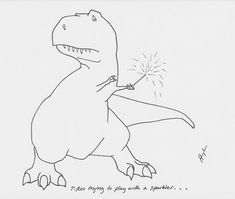 trextrying:    T-Rex Trying To Play With a Sparkler… #TRexTrying #Happy4thOfJuly #Fireworks