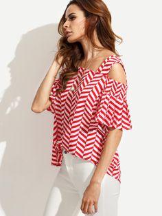 Blusa rayas hombros descubiertos - rojo-Spanish SheIn(Sheinside) Sitio Móvil