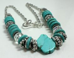 Gorgeous! Turquoise and Crystal Chunky Necklace by NancysCrystalFantasi,