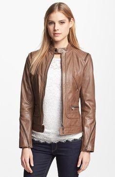 Bernardo Zip Trim Leather Scuba Jacket (Regular & Petite) available at Winter Fashion Outfits, Casual Outfits, Slacks Outfit, Leather Trench Coat, Leather Jackets, Motorbike Jackets, Relaxed Outfit, Fashion Branding, Casual Chic