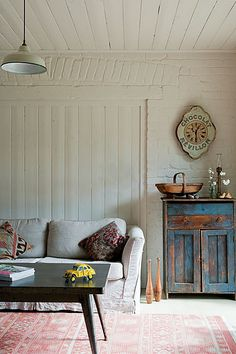 Red Brick Barn - vintage rustic modern farmhouse living room,love the painted brick Decor, Farm House Living Room, House Design, Interior Inspiration, Living Room Designs, Interior, Home Decor, House Interior, Room