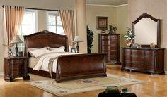 A.M.B. Furniture & Design :: Bedroom furniture :: Bedroom Sets :: Wood Bed Sets :: Sleigh Bed sets :: 5 Pc. Penbroke Deep Brown Cherry Finish Queen Sleigh Bedroom Set