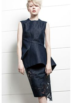 From the 2014 SS LE CIEL BLEU Collection Line - Denim asymmetrical top and denim lace skirt