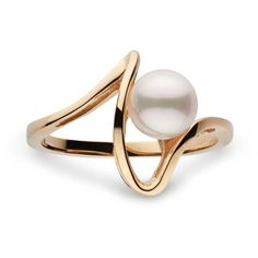 Cordon Collection Akoya Pearl Ring ($89) ❤ liked on Polyvore featuring jewelry, rings, white pearl jewelry, round ring, 14 karat gold ring, yellow jewelry and white ring