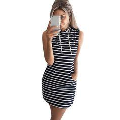 eccd34626 Summer Autumn 2017 Women Casual Hooded Pocket Mini Dress Female Stripe Slim  Bodycon Sexy Party Club Dresses Vestidos Plus Size