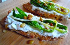 Roasted Ramp Crostini with Ricotta, Fresh Herbs, and Toasted Pumpkin Seeds | Downtown Epicure