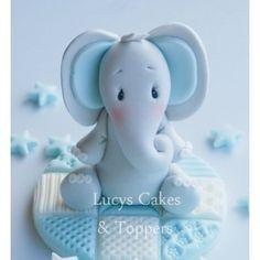 Boys Elephant Cake Topper Set - Blue  Blocks (including extras)