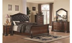 Coaster Maddison Upholstered King Sleigh Bed in Brown Cherry Finish