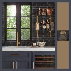 Dark Blue Bar Cabinets with Glossy Black Backsplash Tiles - Contemporary - Kitchen Black Kitchens, Cool Kitchens, Dream Kitchens, New Kitchen, Kitchen Decor, Kitchen Ideas, Kitchen Pantry, Kitchen Interior, Kitchen White