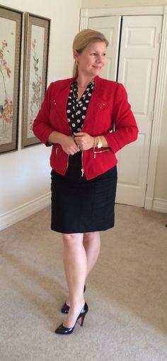 Red moto jacket, black pencil skirt, polka dot blouse, black Louboutin, black prada