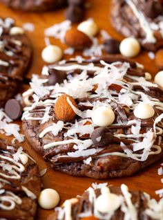 Almond Joy Cookies inspired by one of the best candy bars around. The perfect mix of coconut, nuttiness and chocolate. So good!