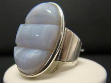 JAY KING MINE FINDS DTR BLUE LACE AGATE DOUBLET 925 STERLING SILVER RING SIZE 7