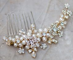 Freshwater Pearl and Rhinestone Gold Comb. Truly unique and beautiful soft gold, freshwater pearl hair comb accented with rhinestones. AA-S2162     $62.00