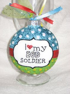 hand painted I love my EOD Soldier Christmas Ornament by CreationsbyGena