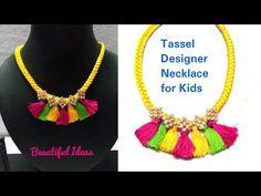 How to Make silk thread Tassel Designer Necklace.for kids . Please watch: How to Make Silk thread Designer BanglesPearl Designer Bangles Making Step By Step at HomeDIY . -~-~~-~~~-~~-~- Beautiful Ideas In this Video Silk Thread Bangles, Thread Jewellery, Jewelry Design, Designer Jewelry, Designer Bangles, Diy Choker, Diy Jewelry Tutorials, Bangles Making, Necklace Designs