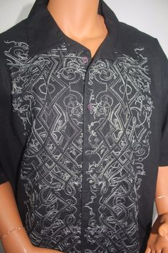 PHAT CLASSICS Mens Shirt Short sleeved Black  with Embroidery  Linen & Cotton 4X #PHATCLASSICS #ButtonFront