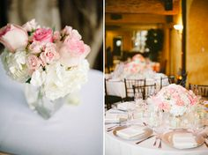 elegant pink and white centerpieces // photo by Shea Christine Photography