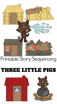 These Three Little Pigs Sequencing – Printable Story Cards are fun and educational. Paired with the classic 3 Little Pigs Story, these free printables will help your preschooler understand sequencing. 3 Little Pigs Activities, Book Activities, Preschool Activities, Three Little Pigs Houses, Three Little Pigs Story, Sequencing Cards, Story Sequencing, Felt Board Stories, Fairy Tale Theme