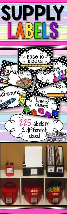 Organize your classroom supplies with these cute polka dot supply labels!  180 Labels in BLACK/white polka dots with clip art, 4 per page AND 180 Labels in BLACK/white polka dots with clip art, 8 per page. To use: Print on cardstock, cut, and laminate lab