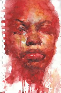 "Nina Simone homage 5.5""x 8.5"", watercolor on paper, 2011 by the akirA project, via Flickr"
