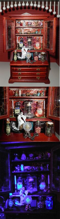 Halloween Dollhouse Spell Casting Hutch by Sheila A. Nielson. Notice how the ghost inside the crystal ball and the fireflies in a jar both glow in the dark.
