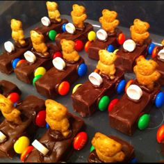 """Car treats. Three musketeers. MMs. Smarties. Teddy Grahams. Chocolate icing for """"glue."""" Super cute!"""