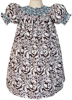 Smocked Fall Dresses Girls girls damask smocked bishop