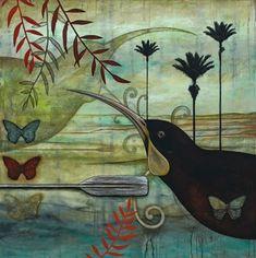 Huia's Guardian Canvas Art Print by Kathryn Furniss Art Maori, Canvas Art Prints, Fine Art Prints, Canvas Canvas, New Zealand Art, Jr Art, Art Portfolio, Bird Prints, Artist Painting