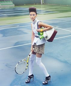 "The Terrier and Lobster: ""Smashing Duo"": Park Ji Hye & Ji-Young Lee Play Tennis by Lim Han Soo for Singles Korea"