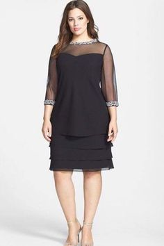 Alex Evenings Embellished Tiered Shift Dress (Plus Size) 8f05d20497f