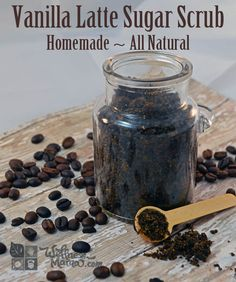 Vanilla Latte Sugar Scrub Easy Homemade Recipe Natural and Organic plus helps get rid of cellulite Vanilla Latte Sugar Scrub Recipe