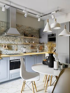 contemporary kitchen with cement tile backspash