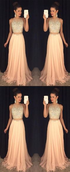 Sexy Peach Prom Dress, Beading Prom Dress,Two Pieces Prom Dress, Long Evening Gown, Prom Dresses for Teens, Sexy Evening Gowns