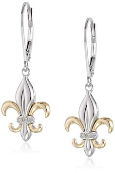 Sterling Silver and Yellow Gold Fleur-de-Lis Diamond Accent Drop Earrings: Imported All our diamond suppliers confirm that they comply with the Kimberley Process to ensure that their diamonds are conflict free. Diamond Jewelry, Diamond Earrings, Silver Jewelry, Saints, Designer Earrings, Women's Earrings, Jewelry Collection, Jewelery, Jewelry Design