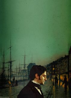north and south  Background painting by John Atkinson Grimshaw