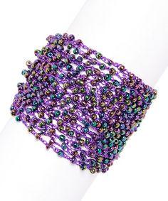 Look what I found on #zulily! Purple Beaded Bracelet #zulilyfinds
