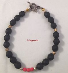 Beaded Bracelet, Bead Bracelets, Czech Matte Glass Beads, Jet Black, Coral, Satin Gold, Silver Stardust Beads - Trending Womens Jewelry #etsymntt #giftideas #handmade #etsyrt #etsygifts