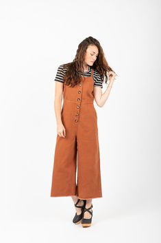 9060b30b6324 The Colby Button Jumpsuit in Brick Denim