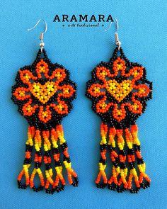image 1 Beaded Flowers Patterns, Beaded Earrings Patterns, Seed Bead Patterns, Seed Bead Earrings, Beading Patterns, Etsy Earrings, Flower Earrings, Seed Beads, Native American Earrings