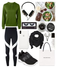 """""""Trying to be kind of healthy"""" by musicmelody1 on Polyvore featuring Balenciaga, NIKE, Puma, Echo, Frends, Stila, Birchrose + Co., The 2 Bandits and BBrowBar"""