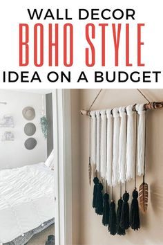 If you love macrame wall decor check out this cheap version for your living room wall decor. This easy diy project looks high end and is perfect for adding some chich to bohemian bedrooms. So check out this boho wall hangings inspiration idea. Diy Home Decor Projects, Easy Diy Projects, Decor Ideas, Diy Ideas, Craft Ideas, Boho Wall Hanging, Diy Hanging, Boho Diy, Boho Decor