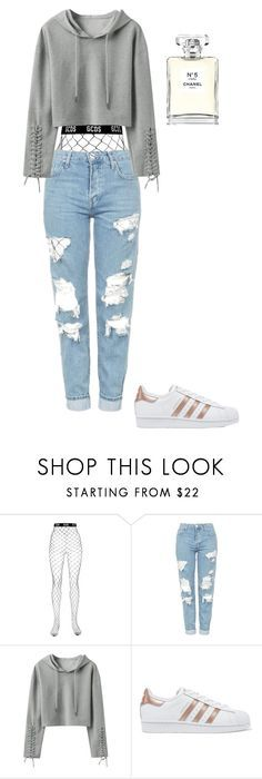 """""""@ayakayrzhan"""" by ayakayrzhan ❤ liked on Polyvore featuring GCDS, Topshop, adidas Originals and Chanel"""